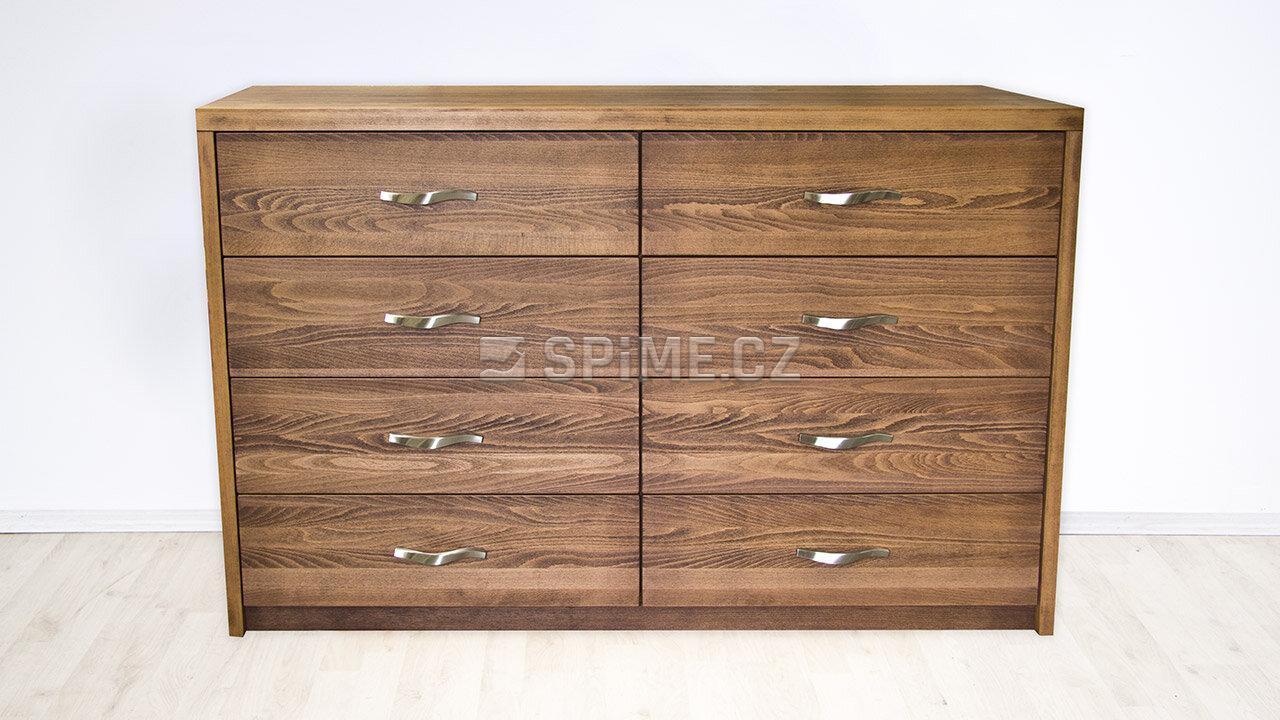 Dřevěná komoda z masivu PORTO DUO 8x zásuvka, Materiál: Masiv Buk, Odstín: Olej Schoko Braun #02