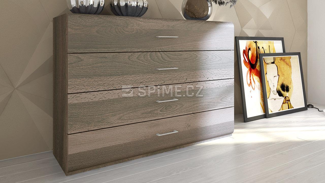 Komoda z masivu Bergamo, Materiál: Masiv Buk, Odstín: Olej Grau Blau #02