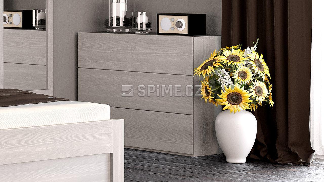 Dřevěná komoda z masivu RENO, Materiál: Masiv Buk, Odstín: Olej Nordic White #03