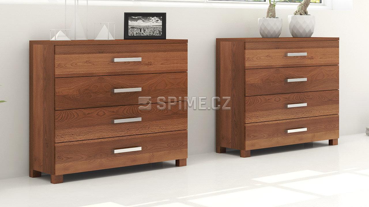 Dřevěná komoda z masivu VERONA 4x zásuvka, Mareriál: Masiv Buk, Odstín: Olej Schoko Braun #02
