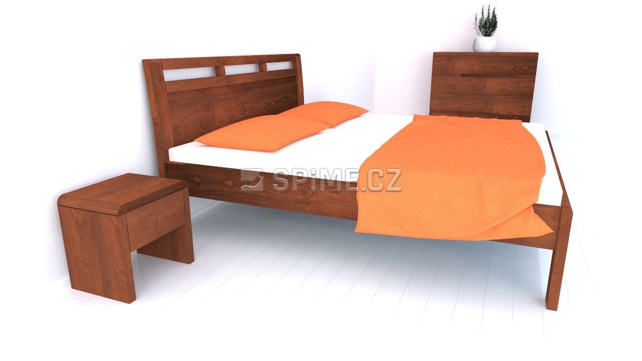 Postel z masivu BREMA Buk manželské dvoulůžko Olej Orange Braun
