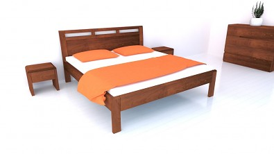 Postel z masivu BREMA Buk manželské dvoulůžko Olej Orange Braun #001