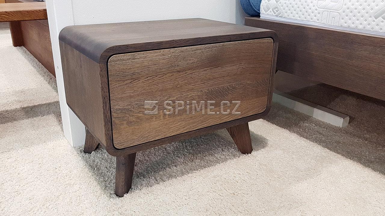 Dřevěný noční stolek z masivu DEIRA, Materiál: Dub, Odstín: Olej Grau Blau #02