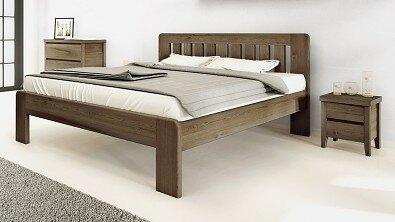 Dřevěný noční stolek z masivu IBIZA, Materiál: Masiv Dub, Odstín: Olej Grau Blau #07