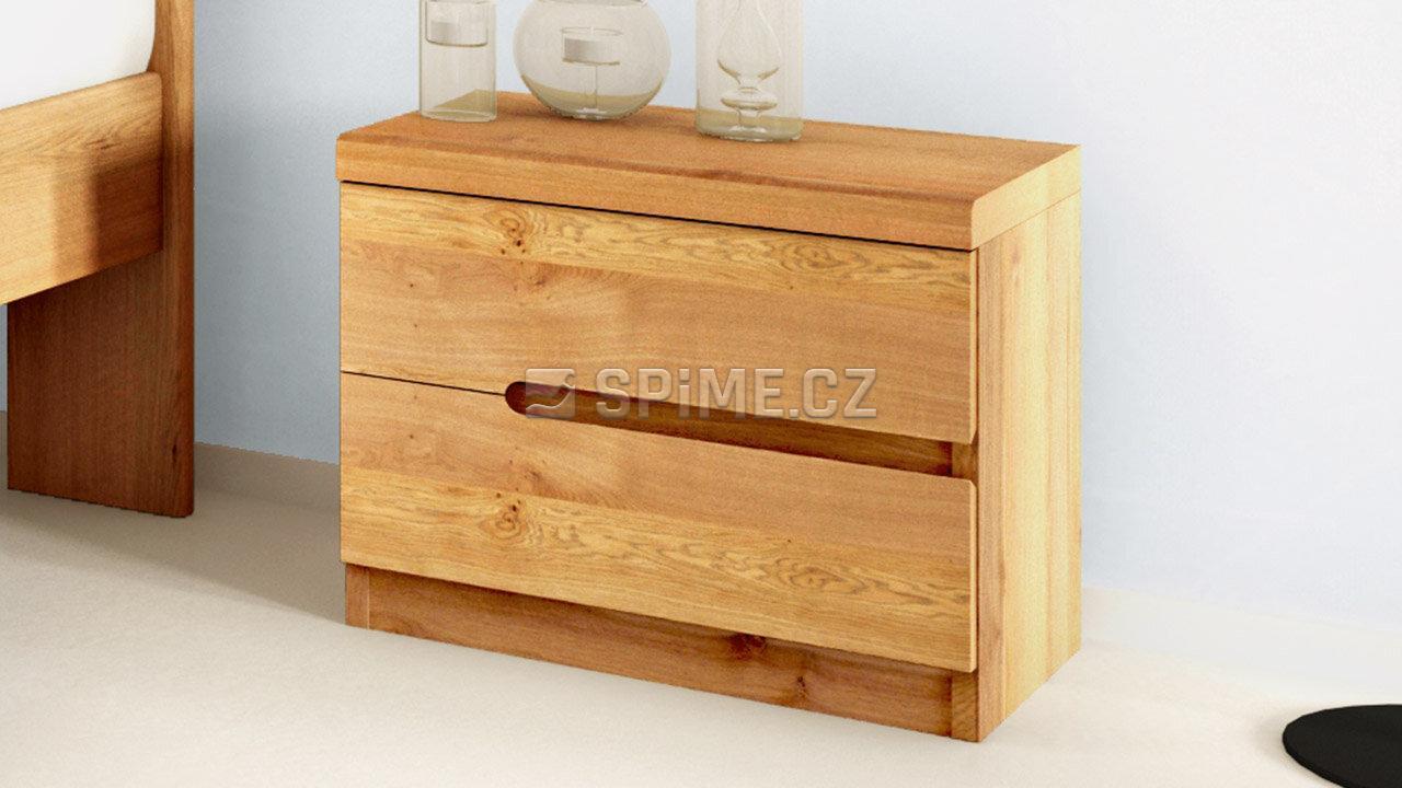 Dřevěný noční stolek z masivu PALERMO, Materiál: Masiv Dub, Odstín: Olej BIOFA Transparent #08