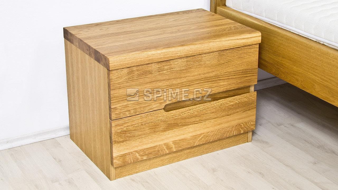 Dřevěný noční stolek z masivu PALERMO, Materiál: Masiv Dub, Odstín: Olej BIOFA Transparent #02