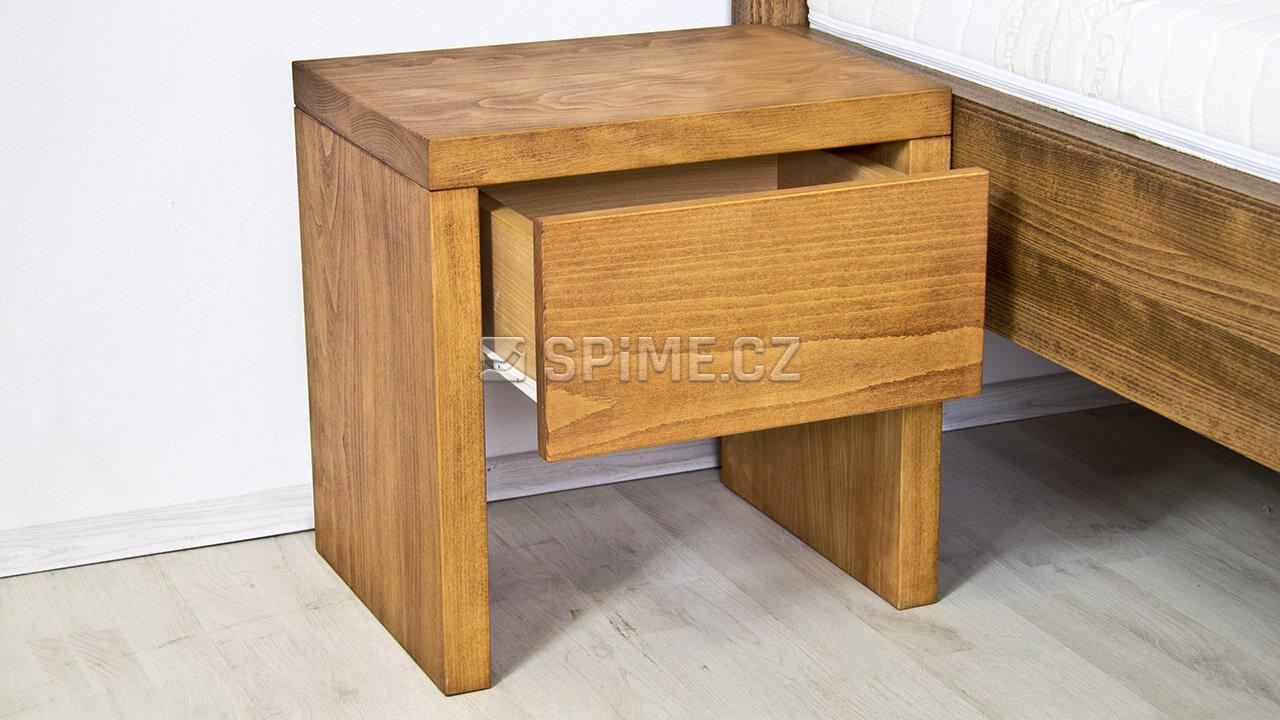 Dřevěný noční stolek z masivu SIENA, Masiv: Buk, Odstín: Olej Světlá Třešeň #03