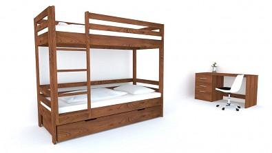 Patrová postel z masivu KIDS Buk - Nuss Braun