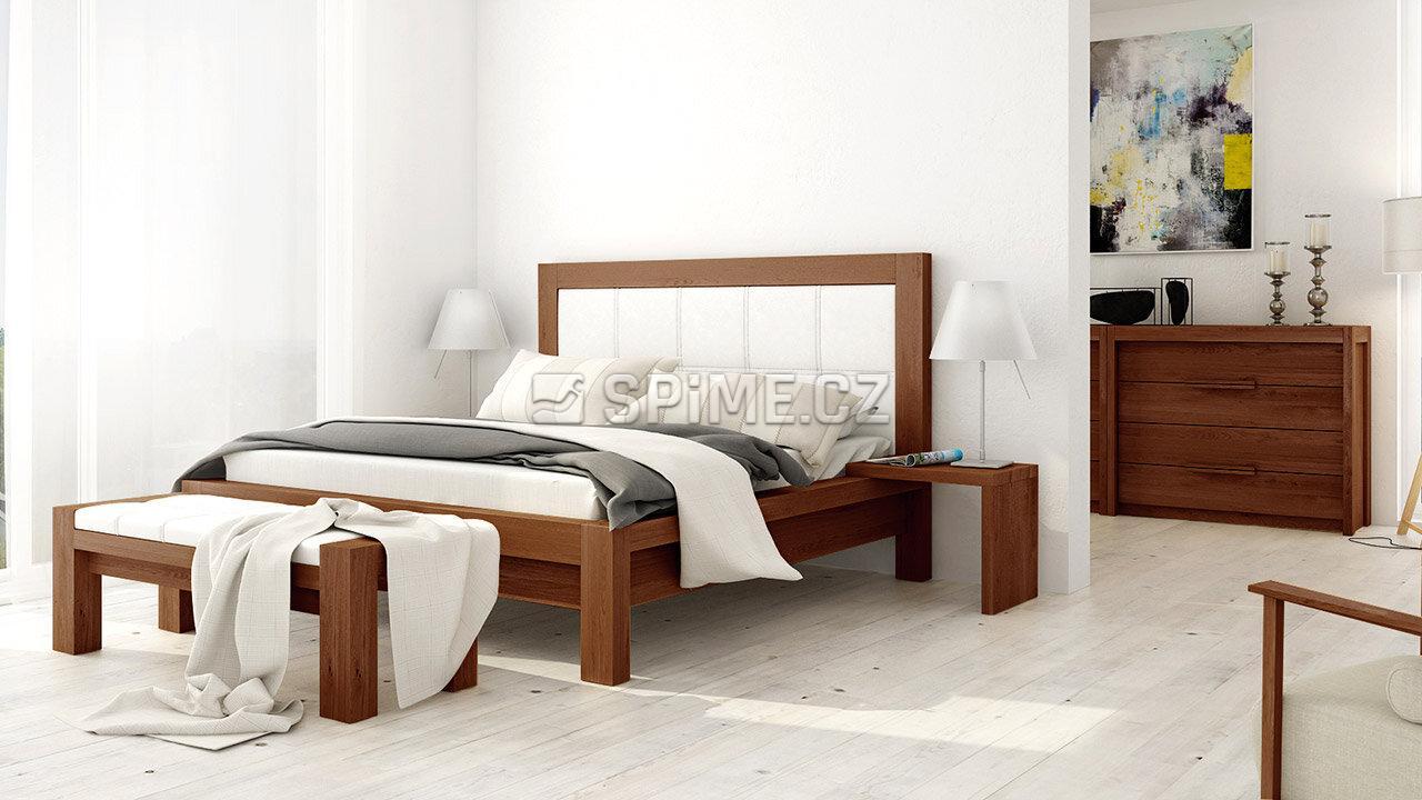 Designová postel z masivu MODENA, Materiál: Masiv Buk, Odstín Olej Nuss Braun #02