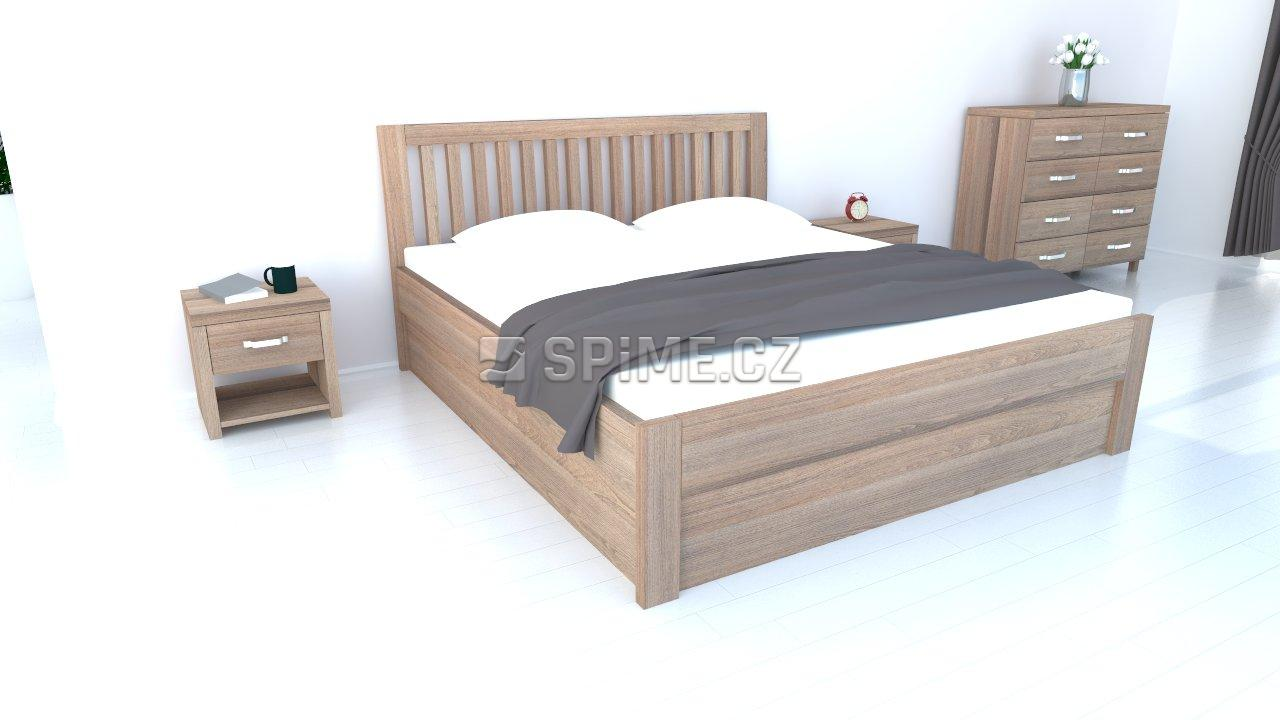 Dřevěná postel s úložným prostorem buk 180x200 Belna, odstín Grau