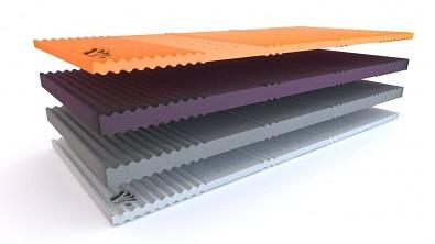 Otočná více-tuhostní matrace z paměťové pěny Visco QUATTRO rozložená